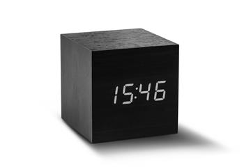 Gingko Cube Click Clock LED vækkeur i sort - KoZmo Design Store